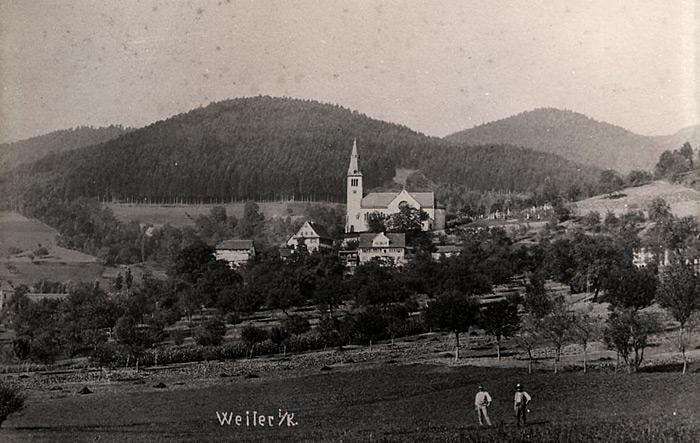 Ortsansicht Fischerbach um 1900 - Sonne Schloßberg und Kirche