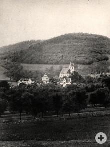 Ortsansicht Fischerbach mit Kirche um 1882